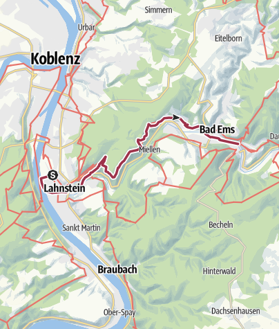 Karte / Lahnwanderweg 19. Etappe flussaufwärts Lahnmündung - Bad Ems