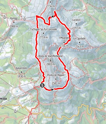 Map / Hike round the Rosengarten Massif