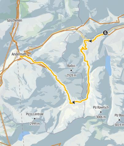 Karte / Tschamut-Maighelspass-Andermatt