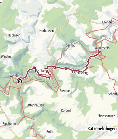 Karte / Lahnwanderweg 17. Etappe flussaufwärts Obernhof - Balduinstein