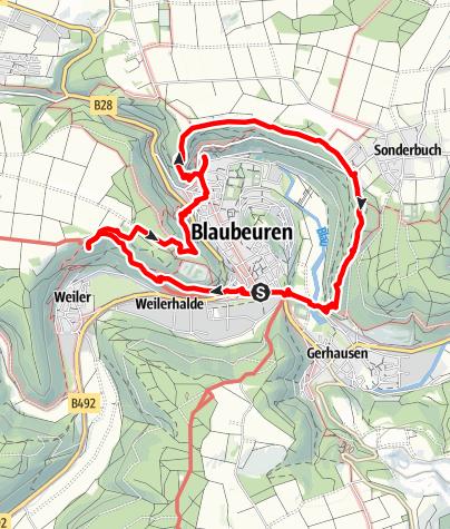 Karte / Alb-Donau-Kreis Eiszeitpfad - Blaubeurer Felsenstieg