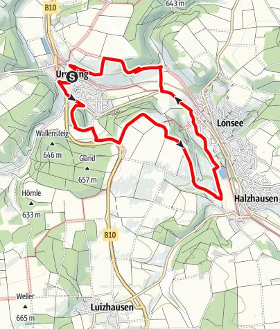 Karte / Alb-Donau-Kreis Eiszeitpfad - Lonequellrunde