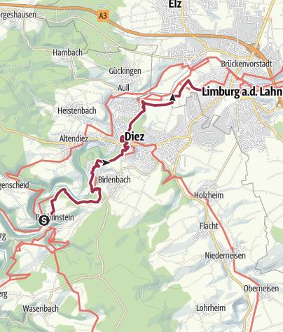 Karte / Lahnwanderweg 16. Etappe flussaufwärts Balduinstein - Limburg