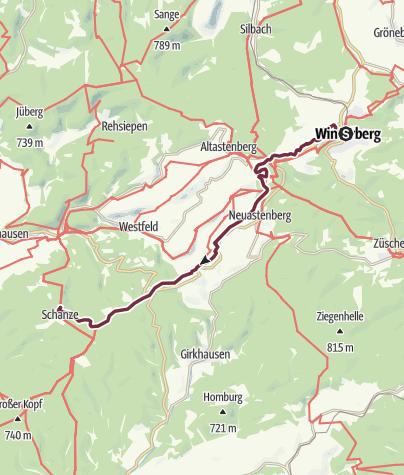 Karte / Rothaarsteig 3. Etappe: von Winterberg nach Schanze