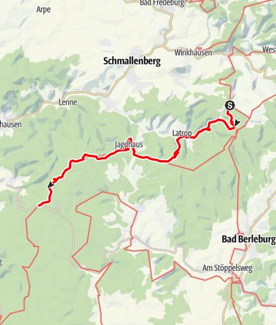 Karte / Rothaarsteig 4. Etappe: von Schanze bis zum Rhein-Weser-Turm