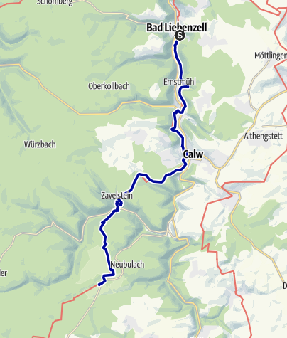 Karte / Ostweg Etappe 2: Bad Liebenzell - Oberhaugstett
