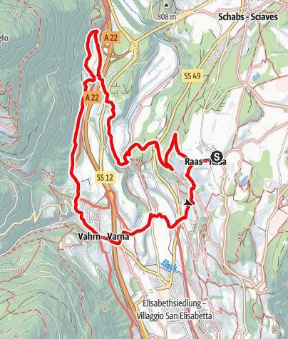Karte / Spazierweg Wein und Wasser in Raas