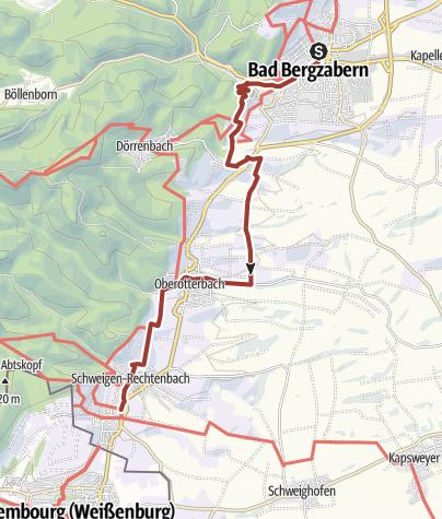 Karte / Pfälzer Mandelpfad Etappe 05 Bad Bergzabern - Schweigen-Rechtenbach
