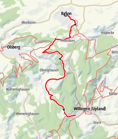 Map / Rothaarsteig 1. Etappe: Von Brilon nach Willingen