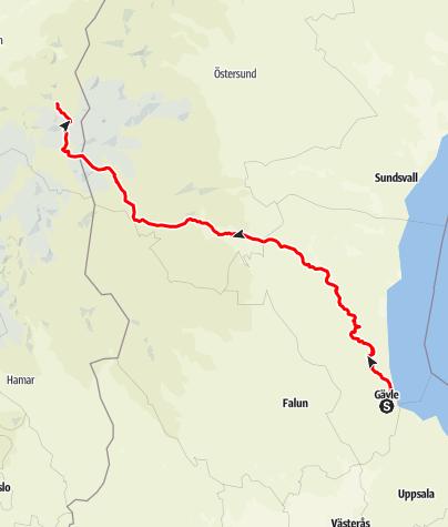 Karta / Gävle till Nidaros, Trondheim
