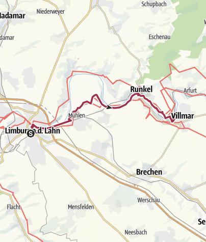 Karte / Lahnwanderweg 15. Etappe flussaufwärts Limburg - Villmar