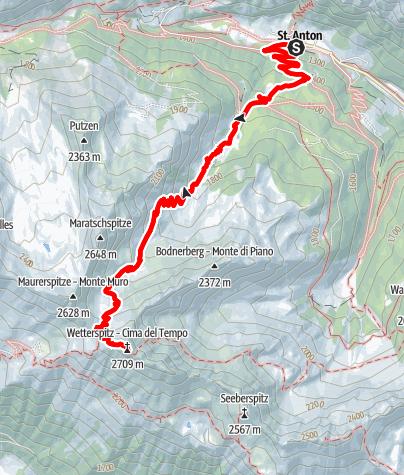 Mapa / Über die Allrissalm zur Wetterspitze
