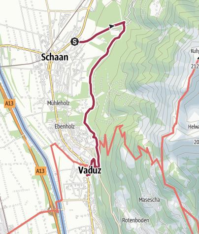 Karte / Auf dem Fürstenweg von Schaan nach Vaduz