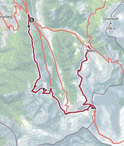 Karte / Liechtenstein in 2 Tagen erwandern, 2. Etappe
