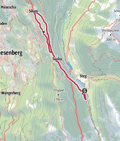 Karte / Rundwanderung von Steg nach Silum