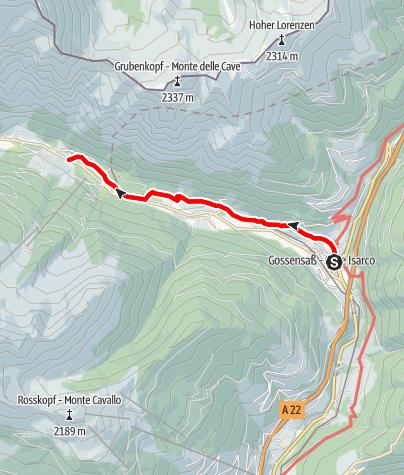 Mapa / Winterwanderung: Pflerscher Talweg