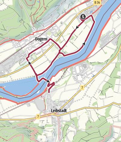 Karte / Waldshut-Tiengen: Nach Dogern und zur Schweiz