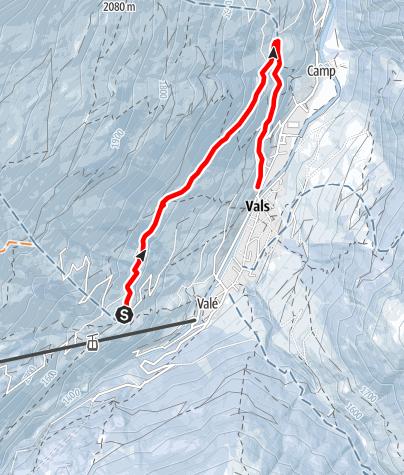 Karte / Schlittelweg Leis - Zorts - Soladüra - Vals