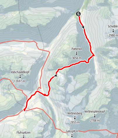 Karte / Übergang von der Konstanzer Hütte zur Heilbronner Hütte über den Bruckmannweg und das Wannenjöchl