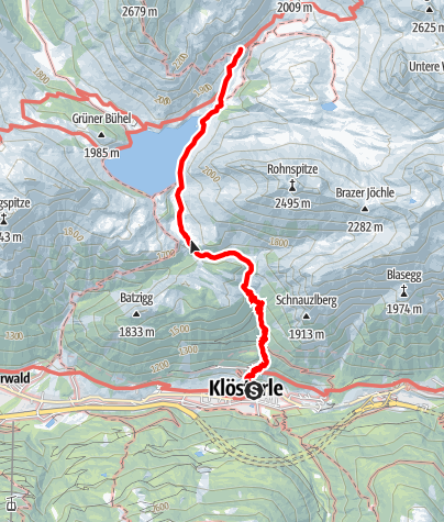 Karte / Zustieg von Klösterle auf die Ravensburger Hütte