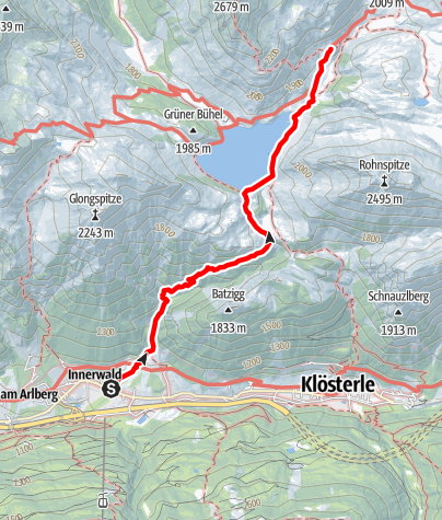 Kaart / Zustieg von Wald (Innerwald) auf die Ravensburger Hütte