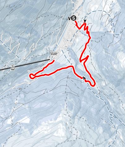 Karte / Schlittelweg Vals Rongg - Gross Cheer - Valé