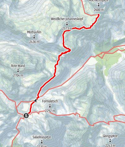 Karte / Übergang von der Freiburger Hütte über das Schönbühel und das Obere Johannesjoch zur Göppinger Hütte