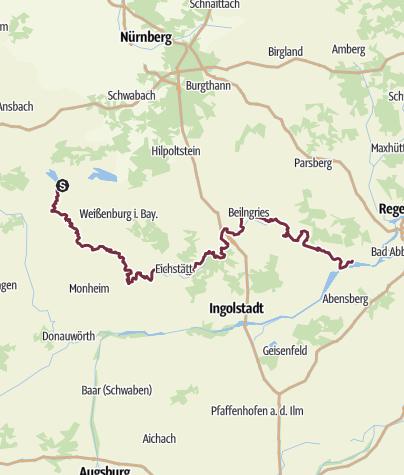 Map / Altmühltal-Panoramaweg:  (kompletter Weg) Gunzenhausen - Weißenburg - Pappenheim - Kipfenberg - Riedenburg - Kelheim