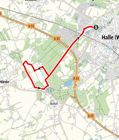 Karte / Joggingtour Tatenhausener Wald - Wiesen und Wälder