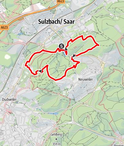 Kaart / Auf fremden Pfaden/Karl-May-Wanderweg - Dudweiler Schleife