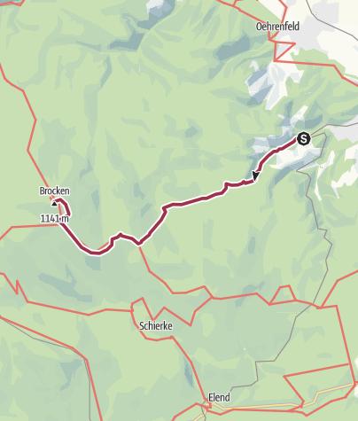 Karte / Brockenwanderung von Wernigerode