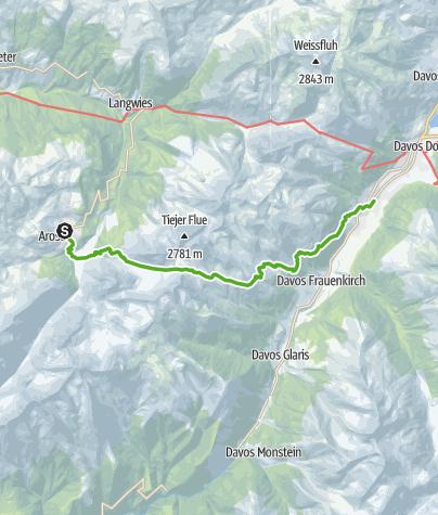 Karte / Walserweg  Arosa - Davos