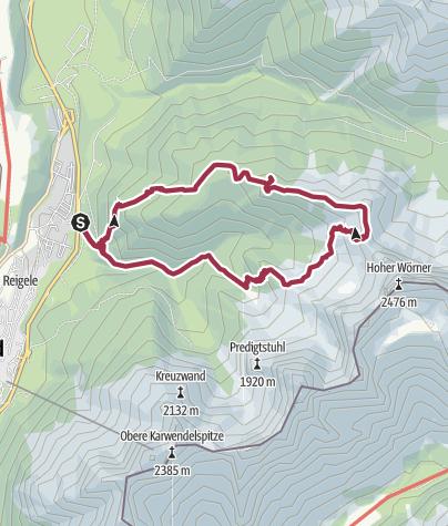 Karte / Wörnerkopf (1.978m) und Hochlandhütte von Mittenwald
