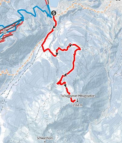Karte / Skitour auf die Tschaggunser Mittagsspitze