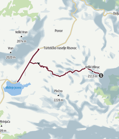 Map / Vilinac - Blidinje (Via Dinarica day 36)