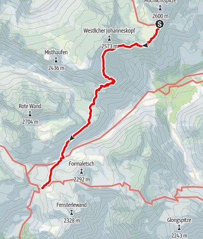 Karte / Übergang von der Göppinger Hütte über das Obere Johannesjoch bis zur Freiburger Hütte