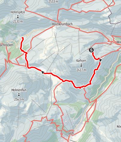 Karte / Tannberg, Etappe: Warth - Bürstegg - Körbersee - Schröcken/Nesslegg