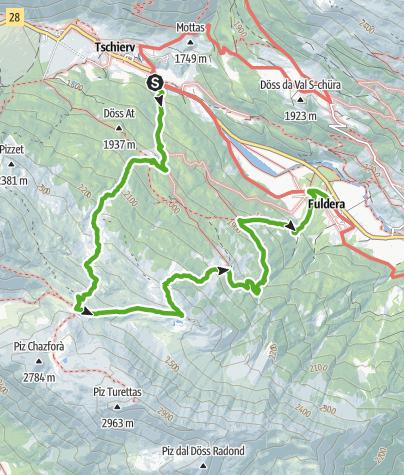 Karte / Tschierv- Lai da Chazforà - Alp Sadra -  Fuldera