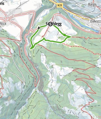 Karte / Fideris Strahlegg roter Spazierweg