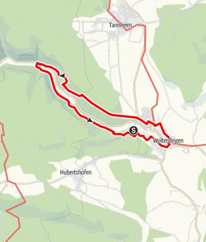 """Karte / Rundwanderweg """"Wolterdingen - Schwarzer Bub"""""""