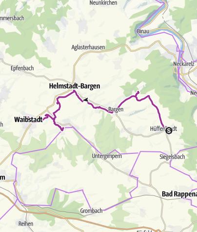 Karte / Radtour mit der Krebsbachtalbahn von Hüffenhardt über Kälbertshausen nach Waibstadt