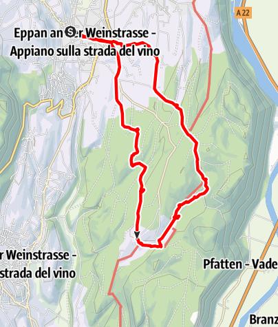 Mapa / Von St. Michael zu den Montiggler Seen