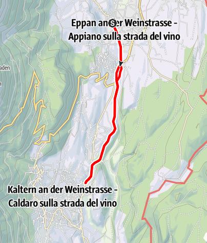 Mapa / Überetscher Spazierweg nach Kaltern