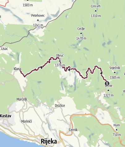 Karte / Sušak - Klana (Via Dinarica day 70)