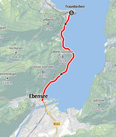 Karte / Seeufer Strecke 2 (nach Ebensee)