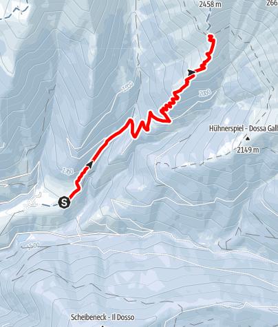 Map / Snowshoe-hiking tour: Gandelle/Kandellen - Bonner hut