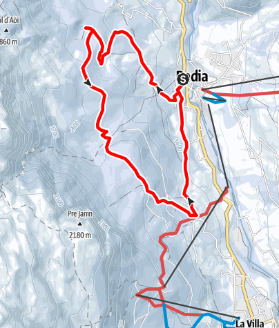 """Map / Hike with snowshoes """"Tru di lec"""" - lakes path"""