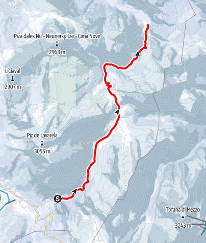 Mappa / Escursione con ciaspole da San Cassiano all'altipiano del Fanes