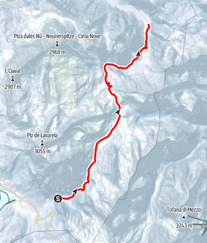 Kaart / Schneeschuhwanderung von San Cassiano zum Fanes-Plateau