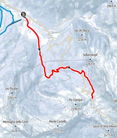 Mapa / Winterwanderung von San Cassiano zur Valparola Alm